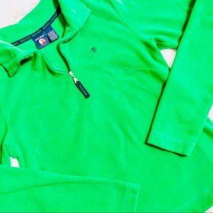 DUCK HEAD • Green Quarter Zip Popover Sweatshirt